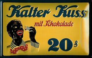 Kalter Kuss mit Schokolade Blechschild Schild 3D geprägt Tin Sign 20 x 30 cm