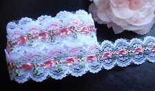 Net Lace Trim Ribbon white/pink  color  selling by the yard