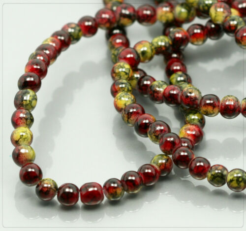 1 Strang marbré de perles de verre Rouge Jaune Perles Beads Bijoux À faire soi-même Bricolage 4 mm