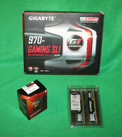Gigabyte 970 Gaming Sli Motherboard Amd Fx-8320e 3.2-4ghz Cpu & 8gb Ram Combo
