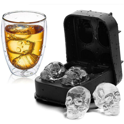 3D Skull Ice Cube Tray Maker Bar Party Mold Silicone Chocolate Whiskey DIY Mould