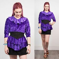 WOMENS VINTAGE 80'S VELVET PURPLE MINI DRESS PEPLUM FRILL COLLAR STRETCH PARTY 8
