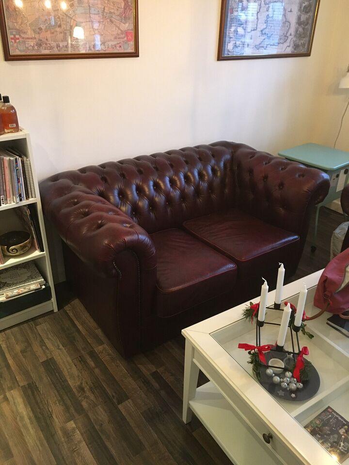 Sofagruppe, læder, anden størrelse