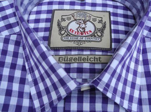 Trachtenhemd Baumwolle lila weiss M bis 2XL Klassiker Neu