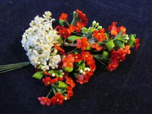 Vtg-Millinery-Flower-Collection-Red-White-Velvet-Forget-me-Not-1-4-1-2-034-Gr-H3381