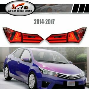 Pair-Red-Smoked-LED-Tail-Lamps-For-Toyota-Corolla-ZRE172-2014-2017-Rear-Lights