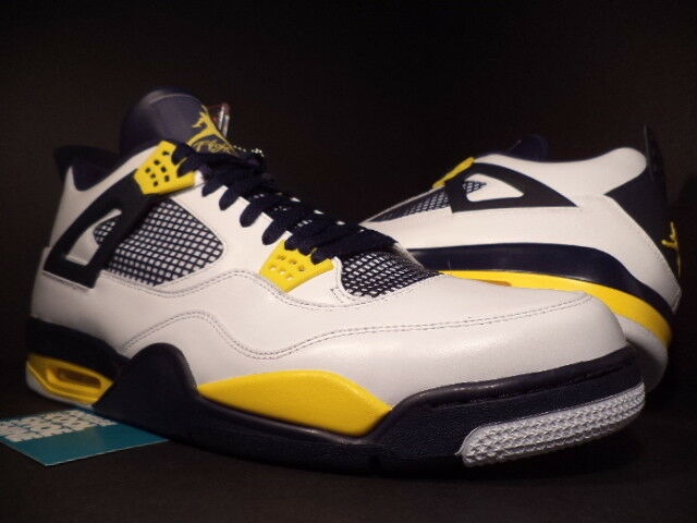 Nike Air Jordan IV 4 Retro CAL MARQUETTE PE SAMPLE WHITE NAVY blueE YELLOW DS 17