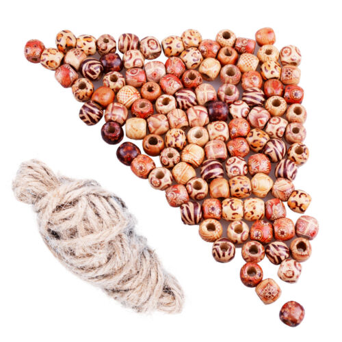 100 Stk 11*12mm Holzperlen Mixed Gemaltes Muster European Beads Elastic Schnur