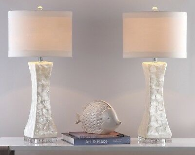Gorgeous Ivory Capiz Shell Set Of 2 White Table Lamps Pair Shades Chrome  Base | EBay