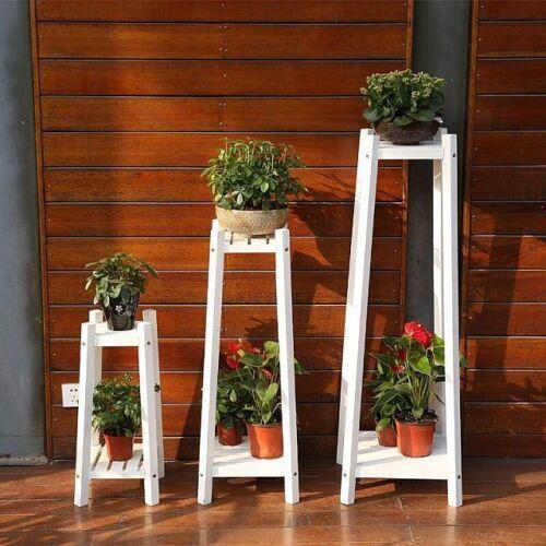 Größen versch Blumenständer für Garten Echtholz in verkohlt//geölt oder weiss