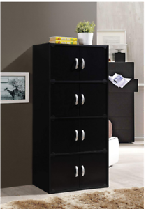 Black-Tall-Storage-Cabinet-4-Cupboards-Kitchen-Pantry-Office-Laundry-Wood-New