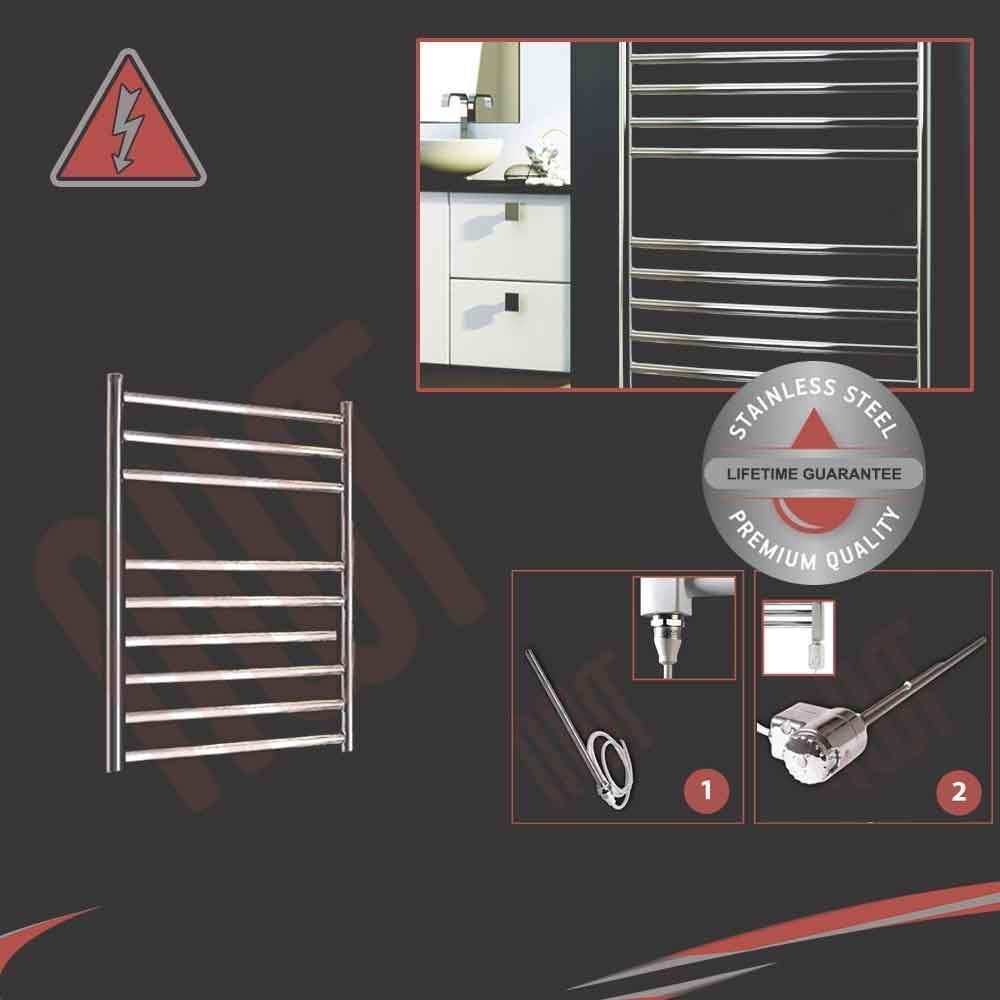 500mm (W) x 600 mm (H) Eléctrico Pulido De Acero Inoxidable Toallero Radiador 300w