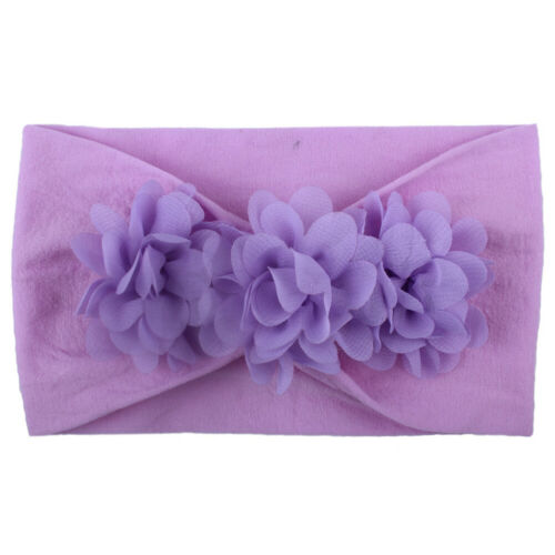 Infant Baby Girl Solid Color Chiffon Flower Wide Headband Hair Band Accessories
