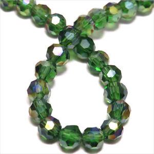 lot 40 PERLES anciennes en cristal bohème à facettes vert olive ab 10 mm