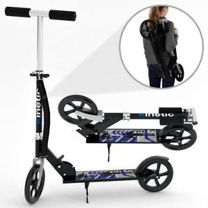 Scooter-Cityroller-Tretroller-Kinderroller-Klappbar-XXLRaeder100kg-SCHWARZ-BLAU