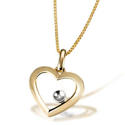 Goldmaid Kette Herz 585 Gelbgold mit Diamant 0,01 Karat SI/H