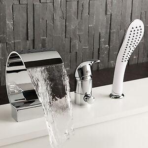 Armaturen badewanne wasserfall  Badewannenarmatur Handbrause Badewanne Wasserfall Armatur Wannenrand ...