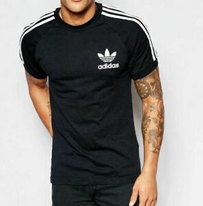 Adidas-Originals-Retro-California-Short-Sleeve-Crew-Neck-Men-039-s-T-Shirt-Black