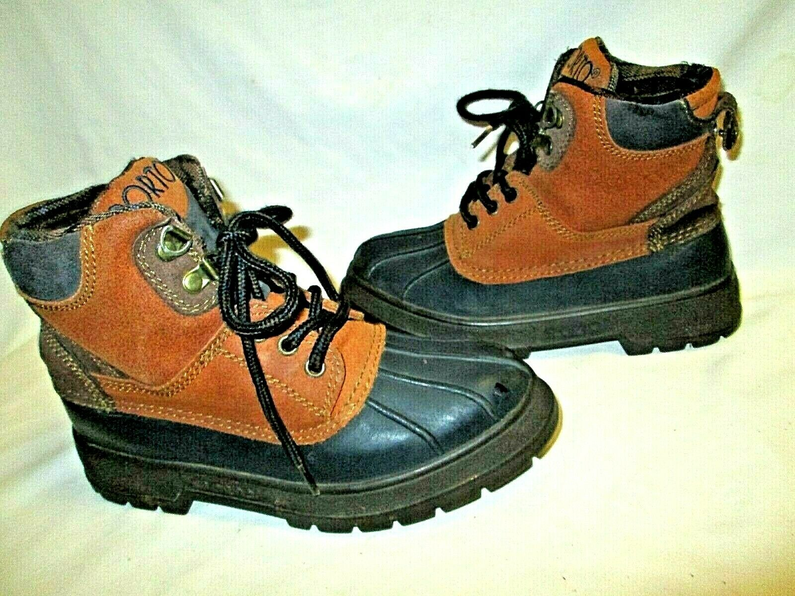 Sporto Lace Up Thermolite Insulated Duck Boots Navy Blue/Tan Leather Sz 5