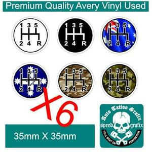 6-X-GEAR-SHIFT-KNOB-FIVE-5-SPEED-STICKER-DECAL-Manual-Gearbox-DEFECT-Stickers