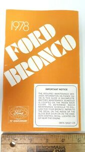 1978-FORD-Bronco-Original-NOS-Owner-039-s-Manual-Excellent-Condition-US