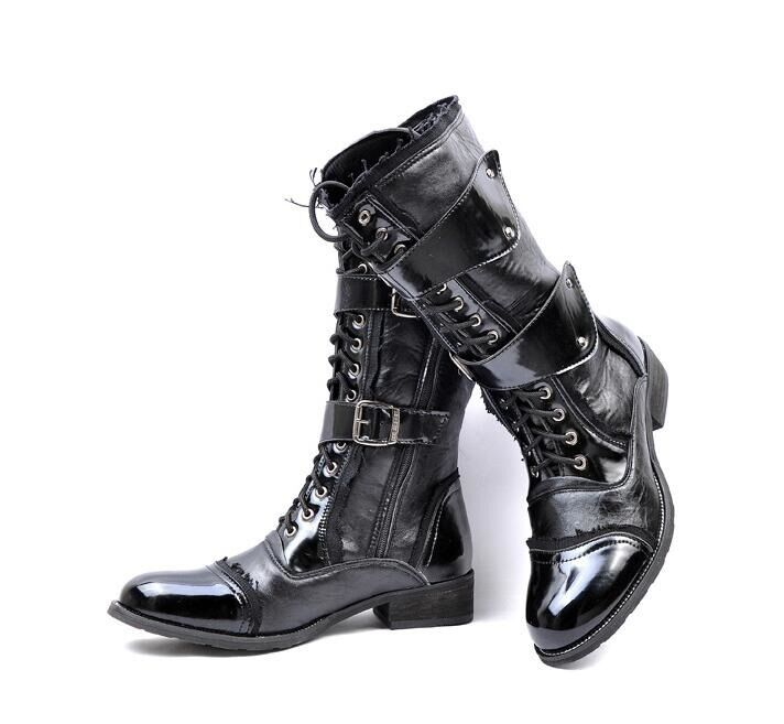 Uomo Punk Military Patent Lace Up Buckle Mid Calf Combat Motorcycle Stivali Shoes