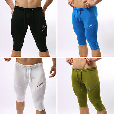 hot sexy Men's gym Lycra Spandex tights pants shorts Swimming trunks pants R99
