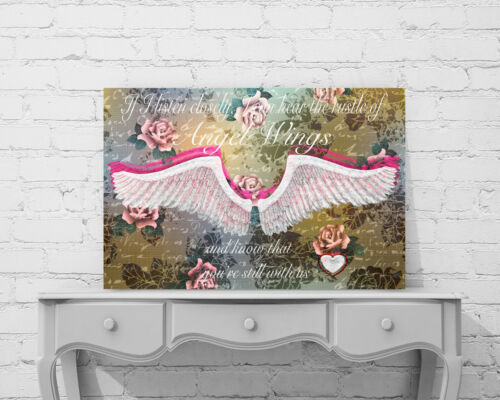 "BEAUTIFUL ANGEL WINGS CANVAS PICTURE /""IF I LISTEN CLOSELY/"" WORD ART WALL ART"
