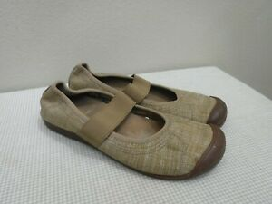 KEEN SIENNA 8.5 39 Brown Fabric Slip On Strappy Mary Janes Loafers Flats Shoes