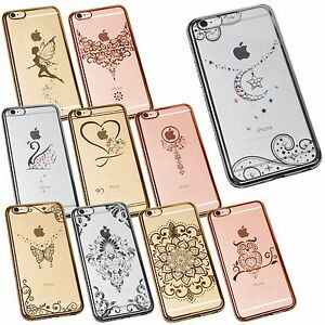 Pour-Iphones-Cristal-Chrome-Bling-Strass-Faux-Diamant-Fin-Etui-Silicone