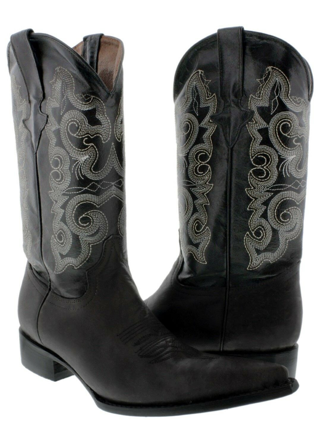 Men's Black Leather Design Dress Cowboy Boots Rodeo Pointed 3X Toe