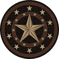 Round Texas Lone Star Rustic Cowboy Western Black Brown Area Rug Free Shipping