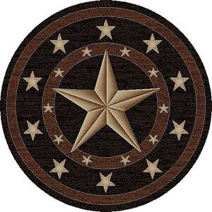 Round Texas Lone Star Rustic Cowboy Western Black Brown