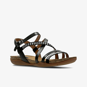 7315a034902e Image is loading Clarks-Womens-Leather-Sandals-Straps-Buckle-Comfort-Light-