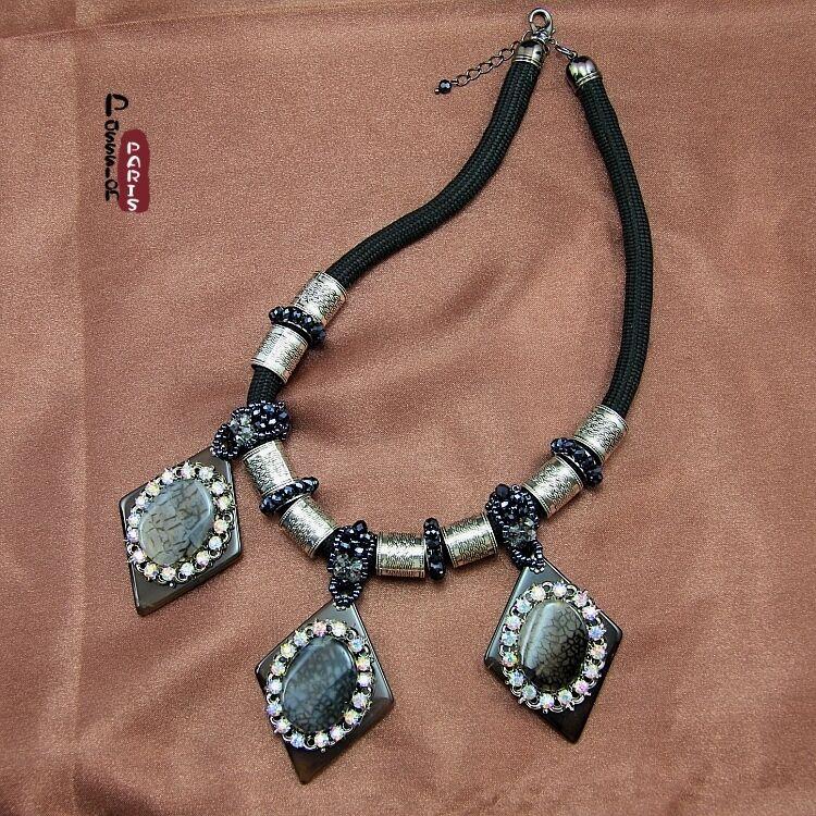 Halskette Frau Ohrhänger Stein Achat grey Kristall Original Abend Ehe nz 1