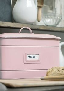 Metall-Brotdose-Brotkasten-Brotbox-emaille-rosa-BREAD-Dose-Shabby-IB-Laursen