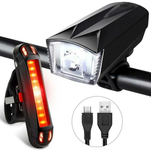 ABS Mountain Bike USB Rechargeable Headlight+Tail Light Set Cycling Tackles KIts