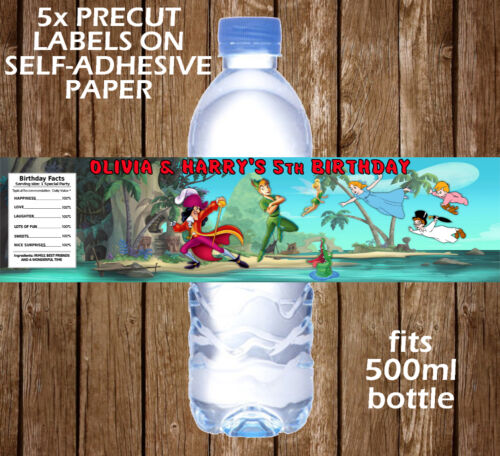 PERSONALISED PETER PAN WATER BOTTLE LABELS BIRTHDAY CHILDREN PARTY FAVOURS KIDS
