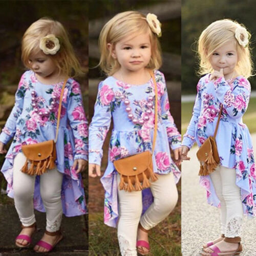 Autumn Toddler Baby Kid Girl Floral Print Tops T Shirt Outfits Clothes Princess
