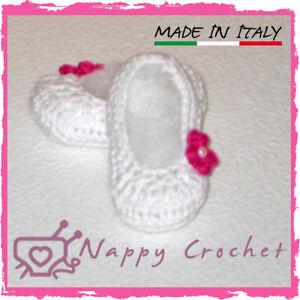 CROCHET BABY SHOES SCARPINE NEONATO A UNCINETTO BALLERINE BIMBA IDEA REGALO