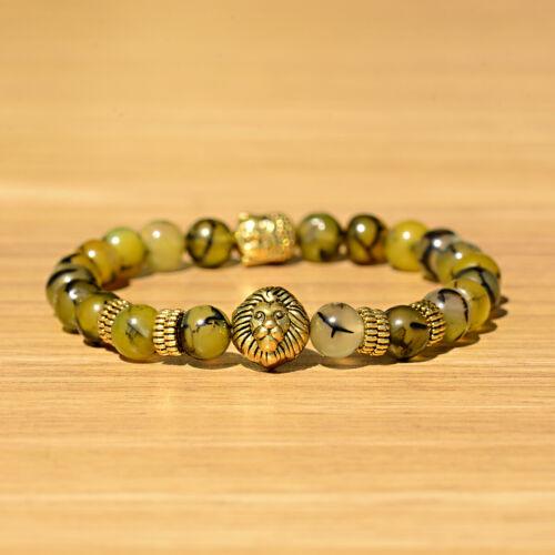 8 MM NATURELLE AGATE Gold Lion /& Bouddha Tête Homme charme perles bracelets bijoux