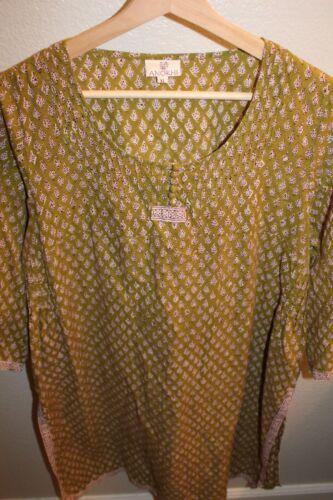 ANOKHI Kaftan dress green pattern size XL india bo