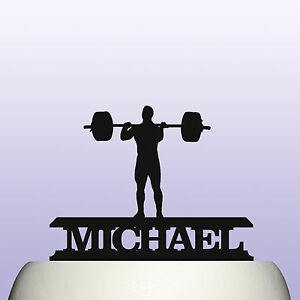 Personalised Acrylic Weightlifting Birthday Cake Topper Decoration