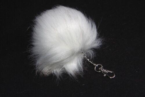 Cute White Soft Fluffy Girls Pom Pom Key Ring W Light Grey Details s148b