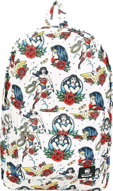 "WONDER WOMAN - Tattoo Print 18"" Backpack (Loungefly) #NEW"