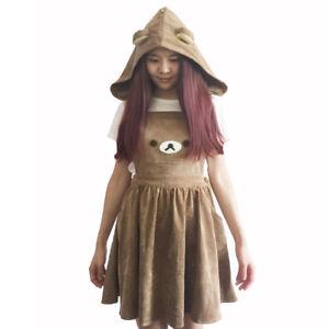 Lolita-Kawaii-Embroidery-Rilakkuma-Jumpsuit-Dress-Cute-Bear-Overall-Hooded-Skirt