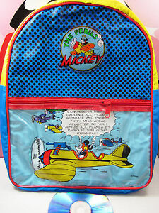 WALT DISNEY Mickey Mouse Perils Kids Backpack School Bag NOS Vintage ...