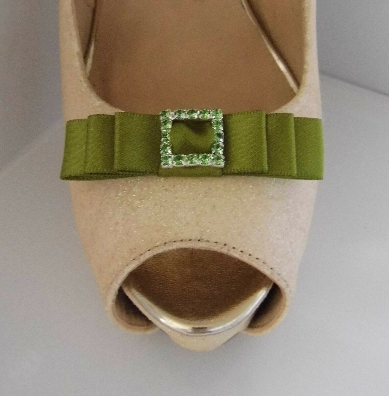 2 Moss Green Small Satin Bow Shoe Clips with Matching Diamante Buckle Centre