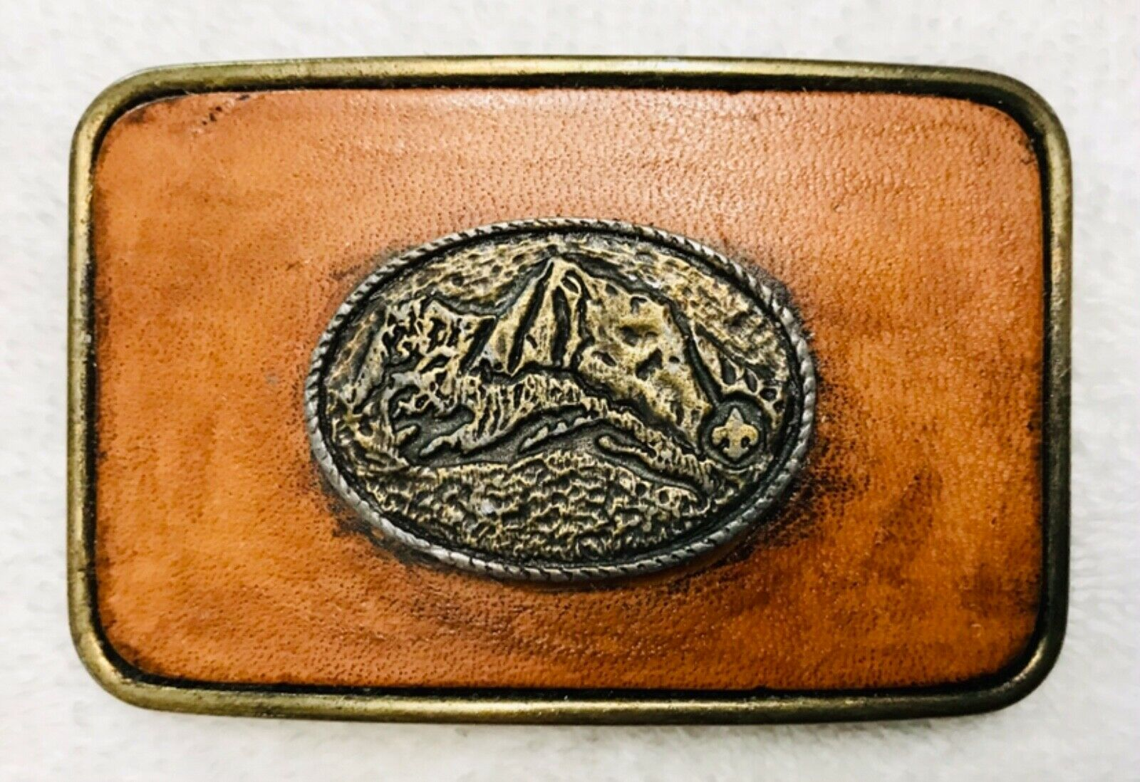 """""""Century"""" Made in Canada 3-D Oval Medallion Leather Framed Belt Buckle"""
