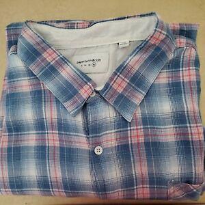 Paper Denim /& Cloth Men/'s Shirt Big /& Tall Short Sleeve Plaids Blue NWT